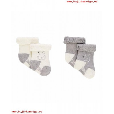 Set 2 calcetines lisos Oso strass